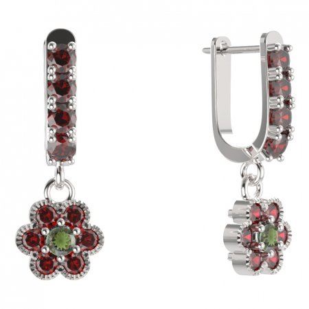 BG circular earring 140-96 - Metal: White gold 585, Stone: Moldavit and garnet