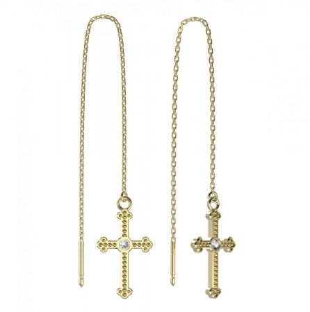 BeKid, Gold kids earrings -1110 - Switching on: English, Metal: Yellow gold 585, Stone: Green cubic zircon