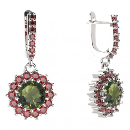 BG circular earring 096-84 - Metal: Yellow gold 585, Stone: Moldavit and garnet
