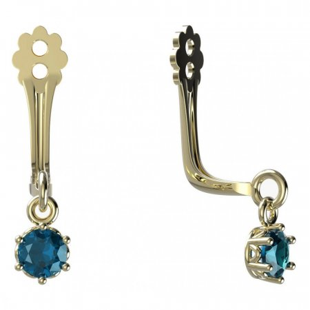 BeKid Gold earrings components I3 - Metal: Yellow gold 585, Stone: Light blue cubic zircon