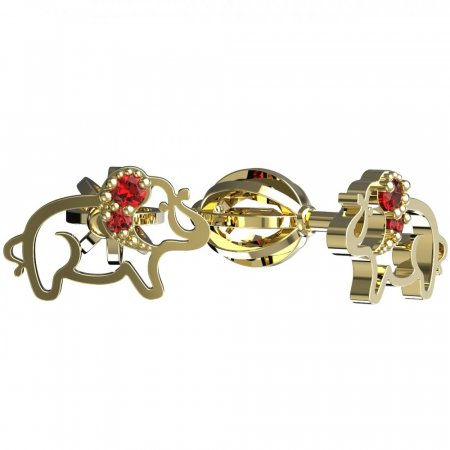 BeKid, Gold kids earrings -1158 - Switching on: Screw, Metal: Yellow gold 585, Stone: Red cubic zircon