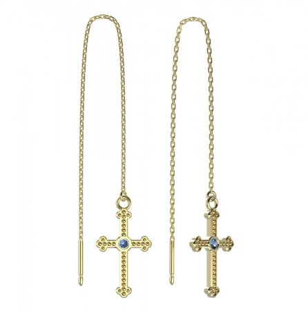 BeKid, Gold kids earrings -1110 - Switching on: Chain 9 cm, Metal: Yellow gold 585, Stone: Light blue cubic zircon
