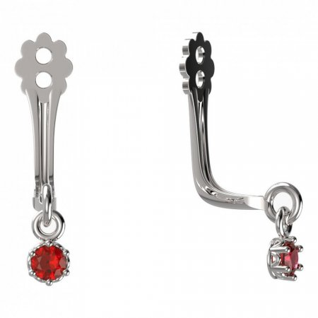 BeKid Gold earrings components I2 - Metal: White gold 585, Stone: Red cubic zircon