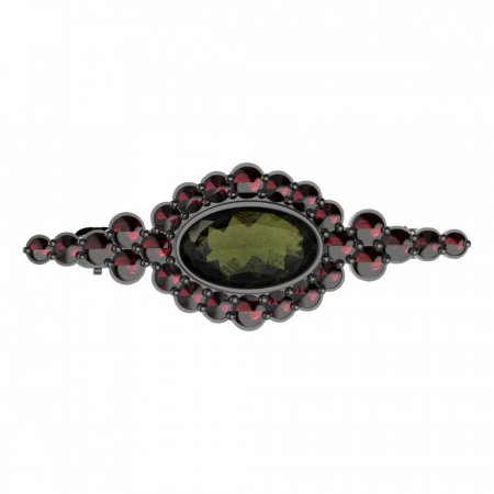 BG brooch 355 - Metal: Silver 925 - rhodium, Stone: Moldavite and cubic zirconium