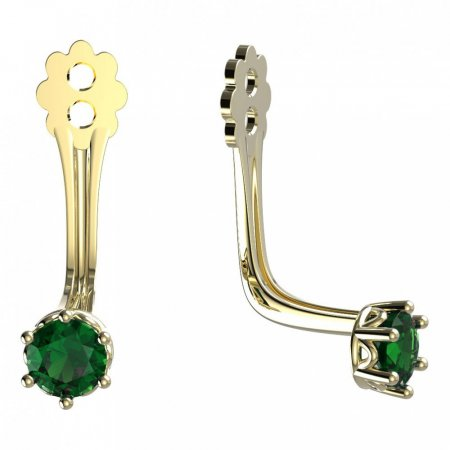 BeKid Gold earrings components 3 - Metal: Yellow gold 585, Stone: Green cubic zircon