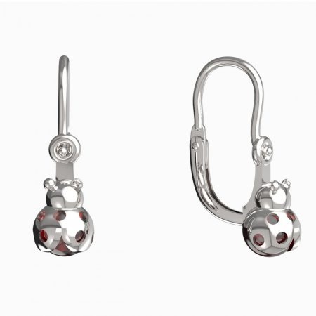 BeKid, Gold kids earrings -1245 - Switching on: Brizura, Metal: White gold 585, Stone: Garnet
