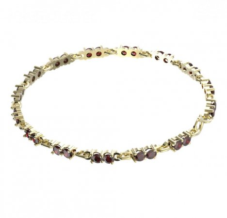 BG bracelet 196 - Metal: White gold 585, Stone: Moldavit and garnet