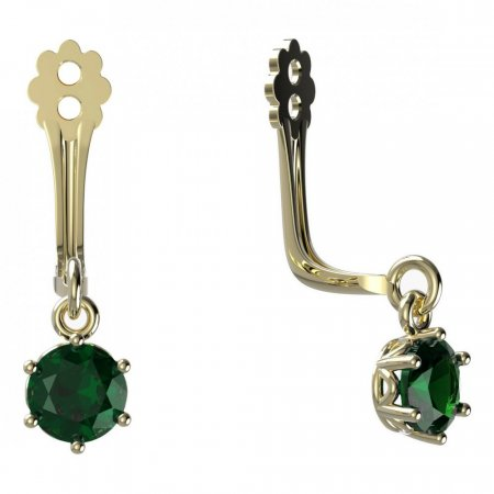 BeKid Gold earrings components I4 - Metal: Yellow gold 585, Stone: Green cubic zircon