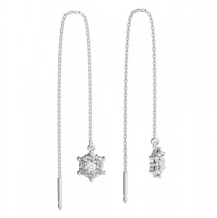 BeKid, Gold kids earrings -109 - Switching on: Chain 9 cm, Metal: White gold 585, Stone: White cubic zircon