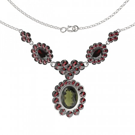BG necklace 515 - Metal: Silver 925 - rhodium, Stone: Garnet