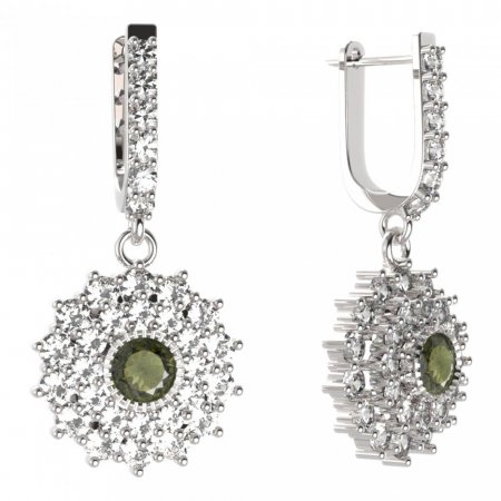 BG circular earring 004-94 - Metal: Silver - gold plated 925, Stone: Moldavite and cubic zirconium