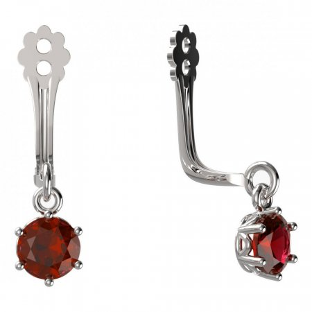 BeKid Gold earrings components I4 - Metal: White gold 585, Stone: Red cubic zircon